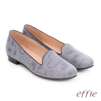 effie 都會舒適 全真皮愛心塗鴉平底鞋 灰色