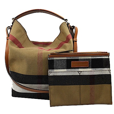 BURBERRY 格紋棉麻系列兩用HOBO水桶包(咖)