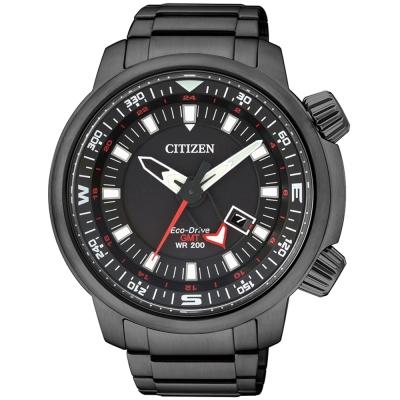 CITIZEN Eco-Drive光動能飛行時尚腕錶(BJ7086-57E)-黑/46mm