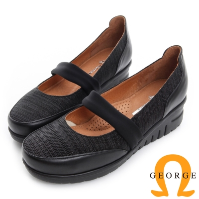 GEORGE 喬治-超輕量真皮厚底楔型休閒鞋-黑色