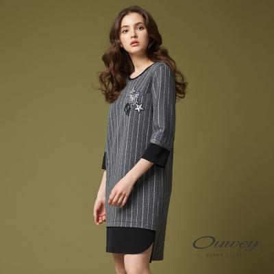OUWEY歐薇 率性條紋貼布刺繡洋裝(灰)-動態show