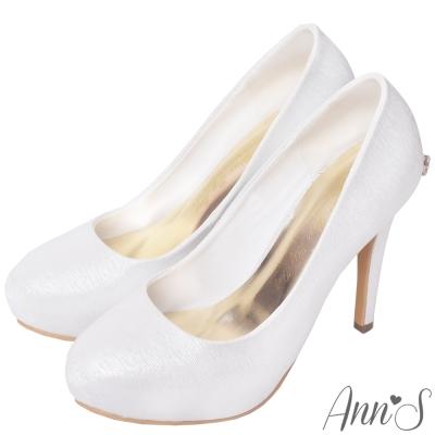 Ann'S公主的憧憬-晶透鑽石蝴蝶結防水台厚底高跟婚鞋-銀白