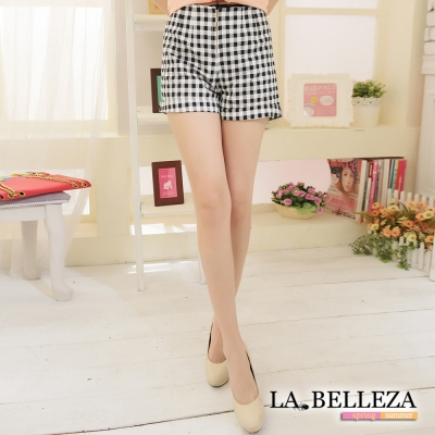 La Belleza黑白細格紋單拉鍊短褲