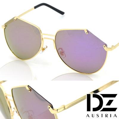 【2件59折】DZ 獨特切型邊 抗UV 偏光 太陽眼鏡墨鏡(金框灰紫膜)