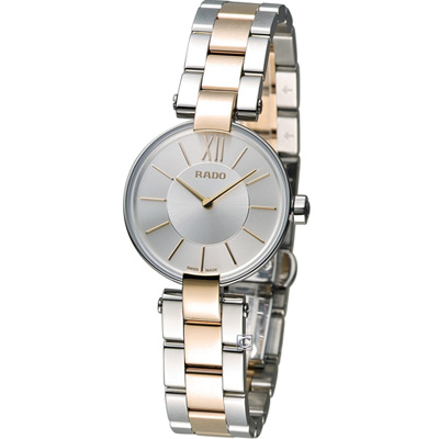 RADO Coupole系列 新時代時尚腕錶-銀白x雙色版/27mm