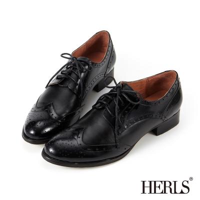 HERLS-全真皮-女紳品味雕花綁帶低跟牛津鞋-黑