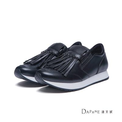達芙妮DAPHNE 休閒鞋-拼色底流蘇運動懶人鞋-黑
