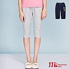 JJLKIDS 彈力刺繡鬆緊六分休閒棉褲(2色)