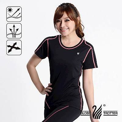 【遊遍天下】 MIT女款抗UV吸濕排汗彈力圓領衫S152黑色