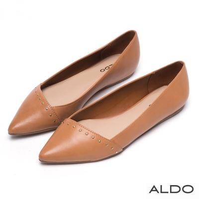 ALDO-原色真皮幾何金屬鉚釘尖頭鞋-個性焦糖