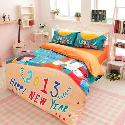 生活提案【愛你一生】雙人四件式活性印染純棉兩用被床包組