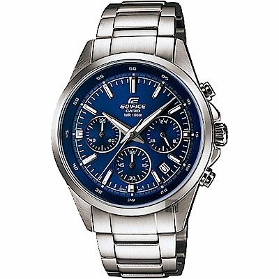 CASIO卡西歐 EDIFICE 經典賽車計時手錶-藍x銀
