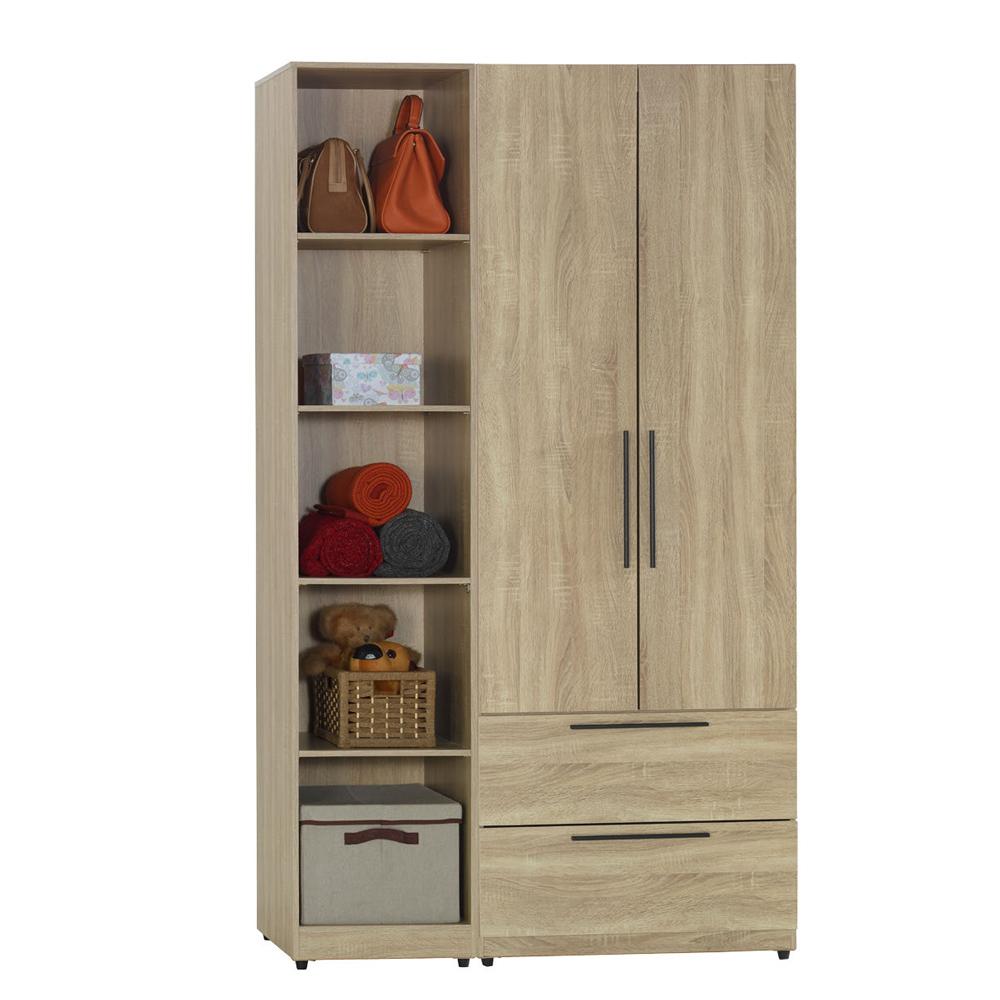 AT HOME-凱文4尺梧桐兩件組合衣櫃[二抽+五格)(110*54*197cm)