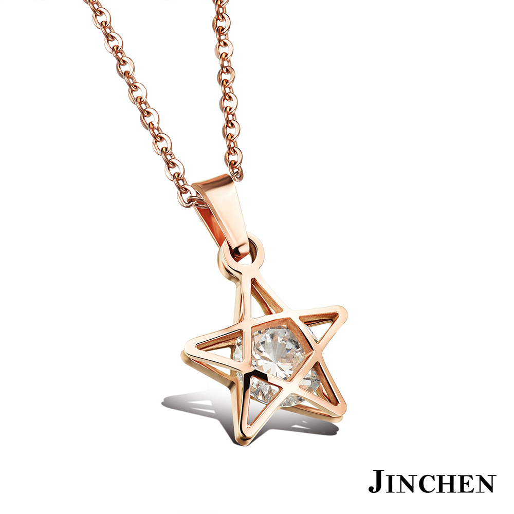 JINCHEN 白鋼流星水鑽項鍊