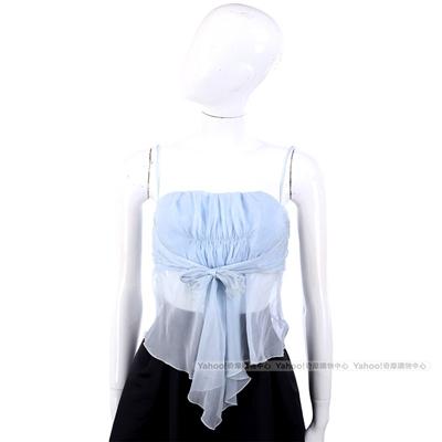 VALENTINO 水藍色紗質抓褶綁帶細肩帶上衣