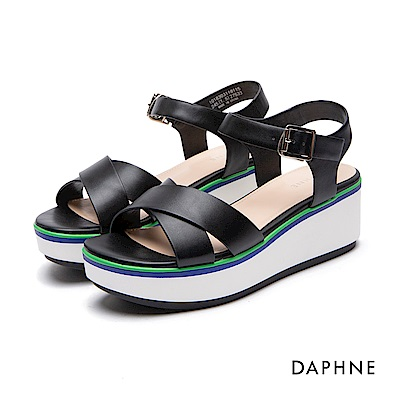 達芙妮DAPHNE 涼鞋-交叉寬帶拼色楔型跟-黑