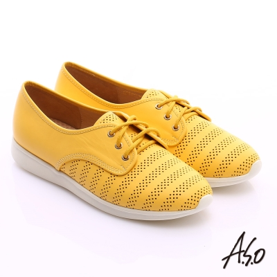A.S.O 輕漾漫步 牛皮網洞綁帶平底休閒鞋 黃色