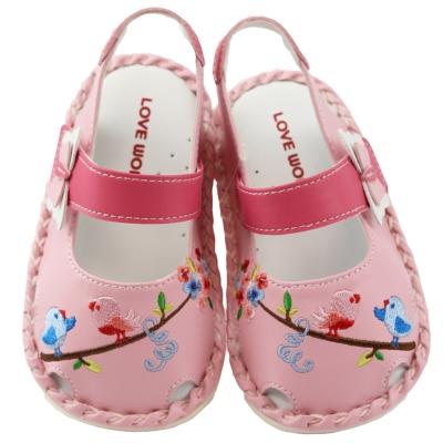 愛的世界 花與小鳥寶寶鞋/學步鞋 -台灣製-