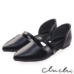 Chichi 韓系風格 尖頭素面側鏤空平底鞋*黑色
