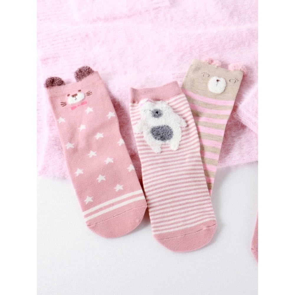 可愛動物系列圖案條紋/星星造型襪-OB大尺碼