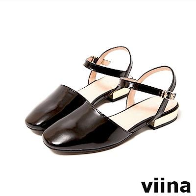 viina-都會系列-真皮圓頭繫帶平底涼鞋-經典黑