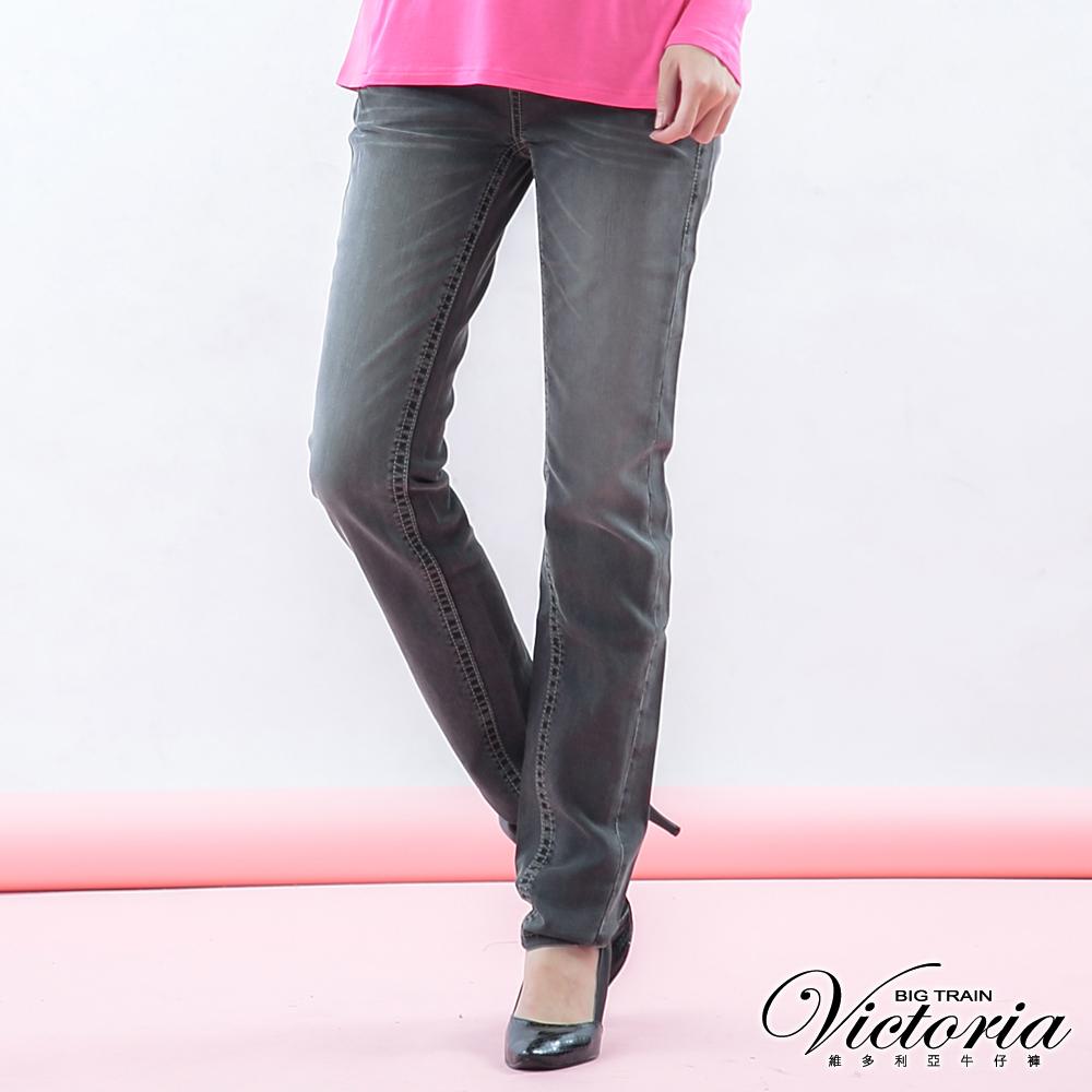 Victoria 豹紋繡男友褲-女-黑