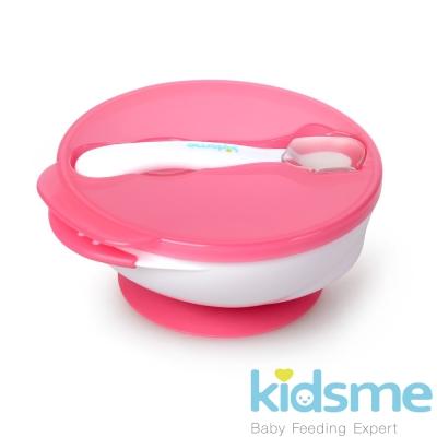 任-英國kidsme-寶寶練習吸盤碗+感溫變色湯匙-紅