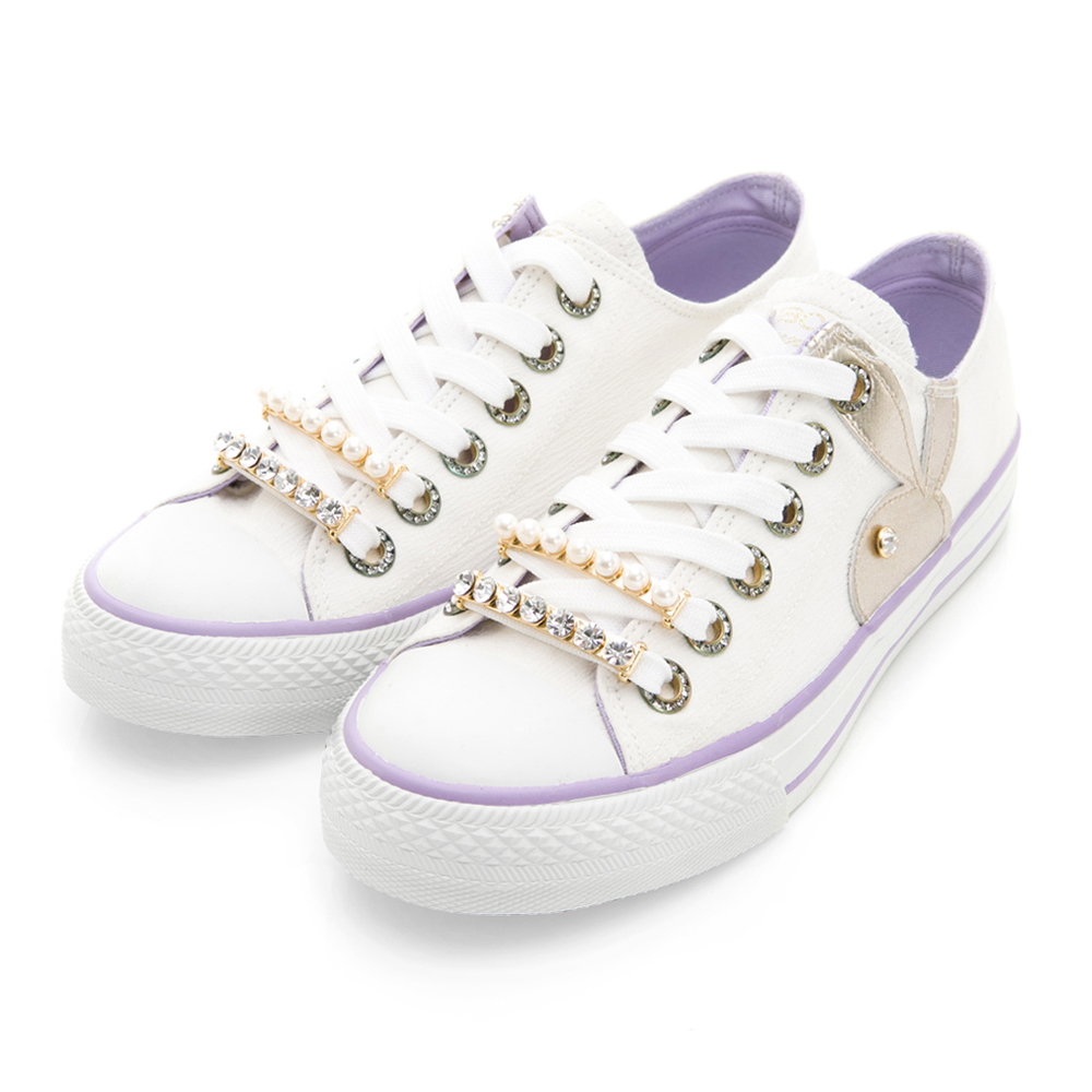 PLAYBOY奢華輕語 可拆華麗鞋帶釦帆布鞋-白