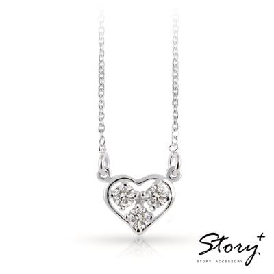 STORY故事銀飾-明亮的心-純銀項鍊(白K金+白鑽)