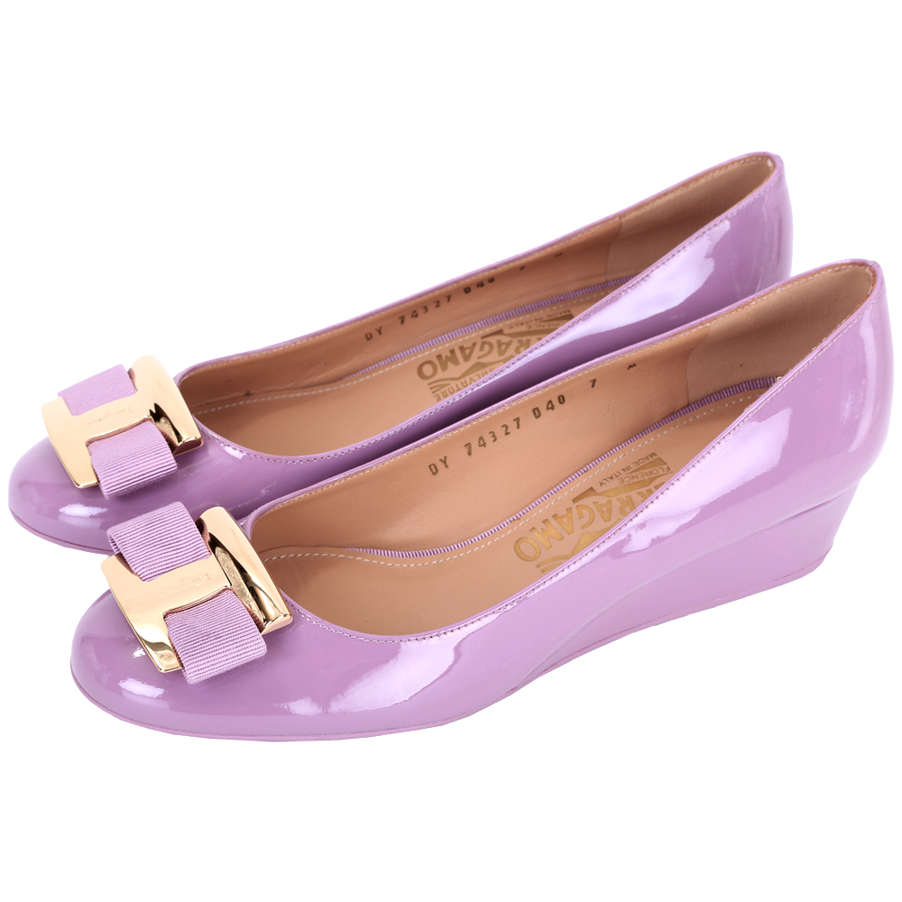 Salvatore Ferragamo Ninna 經典漆皮楔型鞋(粉紫色)