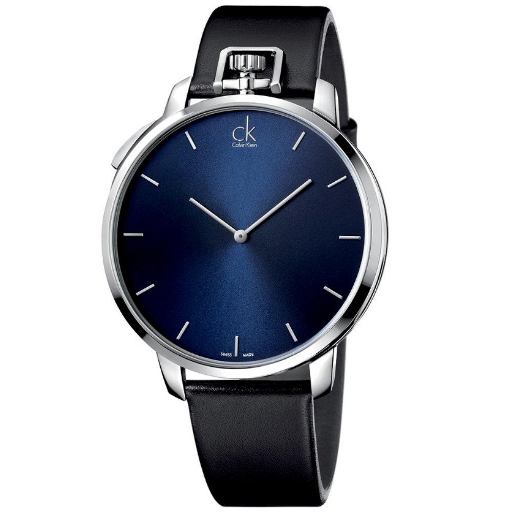 cK 經典時尚大三針(懷錶)腕錶-深藍/45mm
