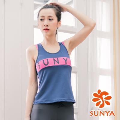 SUNYA-素雙肩長版運動背心-藍