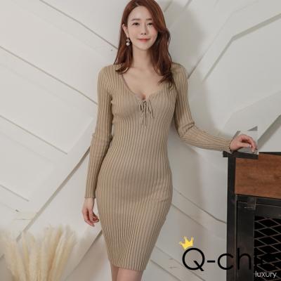 正韓 綁帶圓領長袖針織洋裝 (共三色)-Q-chic