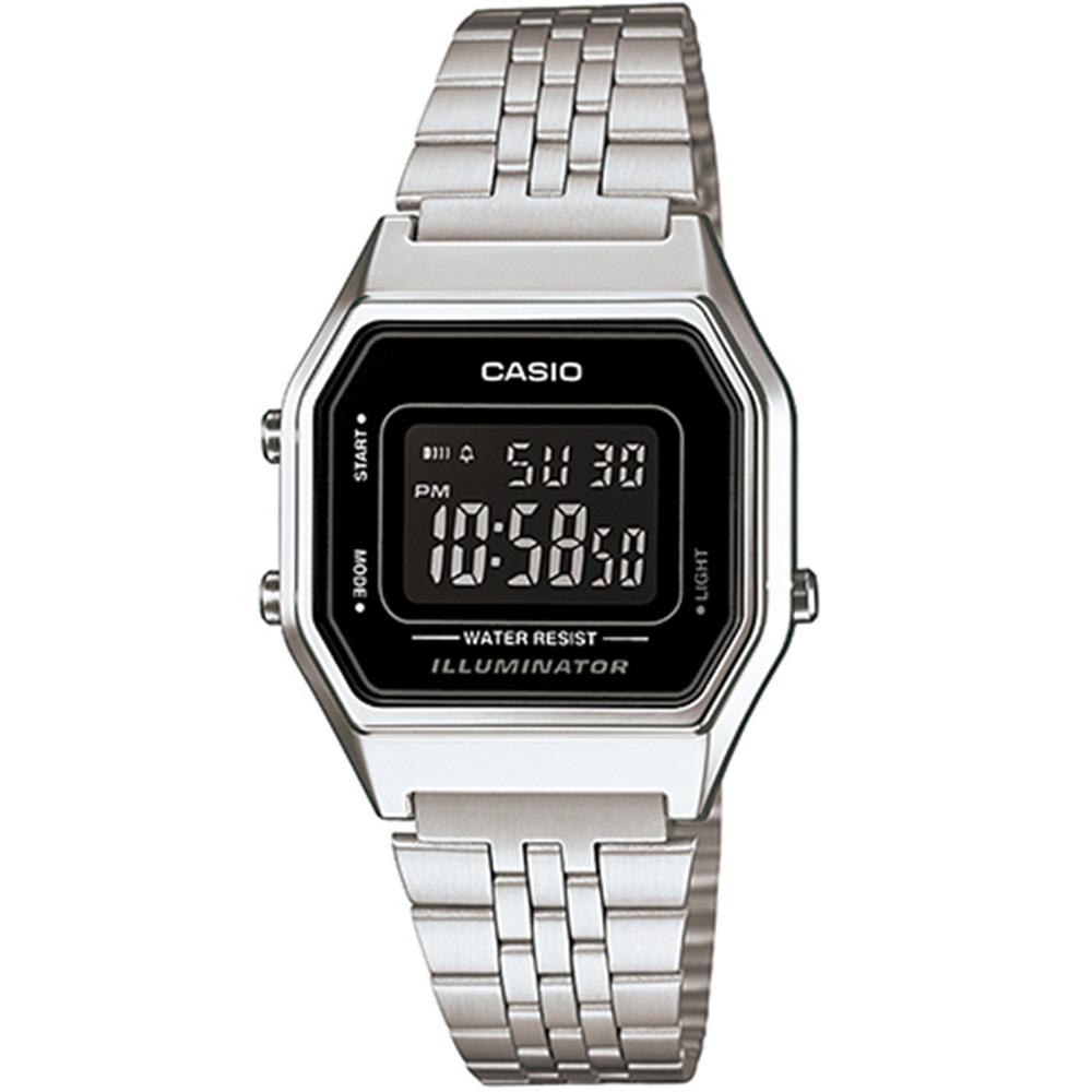 CASIO 經典復古數字型電子錶-(LA-680WA-1B)銀色x黑框黑面/28.6mm
