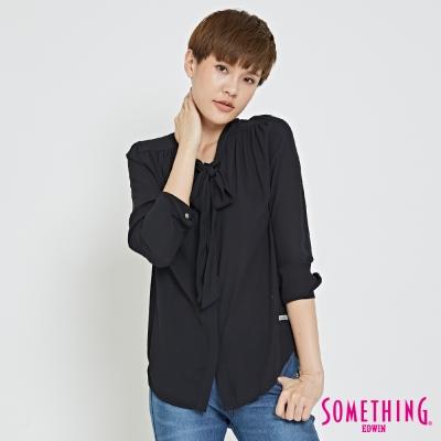 SOMETHING 優雅領結襯衫-女-黑色