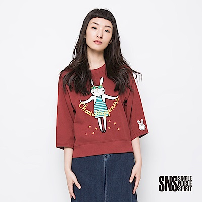 SNS 繽紛春日兔星球女孩圖騰設計上衣(3色)