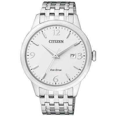 CITIZEN 星辰 時尚簡約光動能手錶(BM7300-50A)-銀/40mm