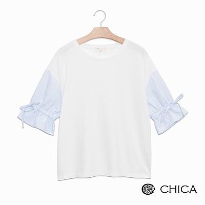 CHICA 優雅日常拼接蝴蝶結袖上衣(3色)