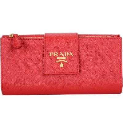 PRADA Saffiano Metal 金字掀式多卡層釦式中長夾(紅色)