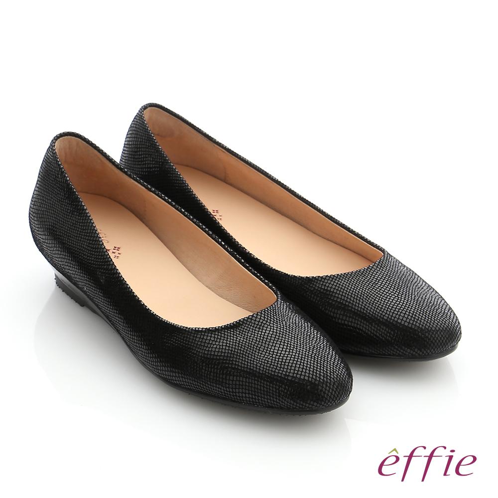 effie 職場通勤 羊絨低跟素面包頭鞋 黑色