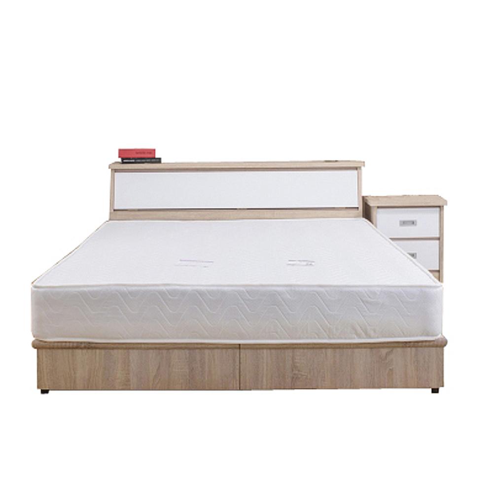 AT HOME-威尼斯梧桐白雙人臥室四件組(床頭箱+床底+床墊+床頭櫃)