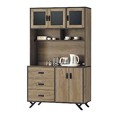 品家居 特斯拉4尺橡木紋餐櫃組合-121x40x203cm免組