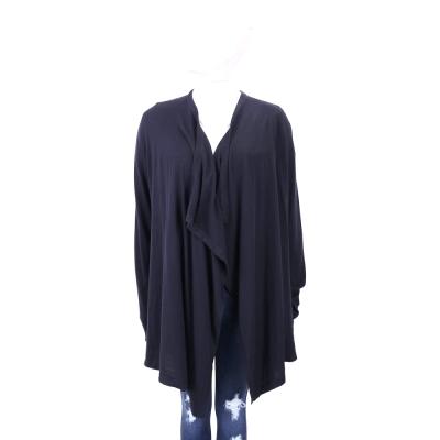 TRUSSARDI 深藍色不規則邊針織外套