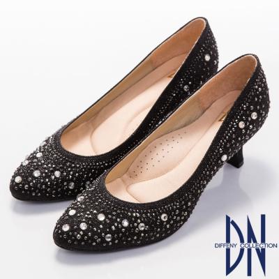DN-典雅迷人-MIT閃耀滿鑽小圓尖頭跟鞋-黑