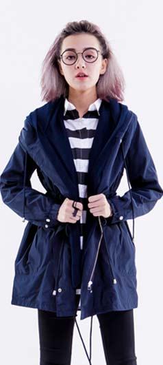 WIPX2%twopercent 抽繩雙層連帽風衣外套_藍