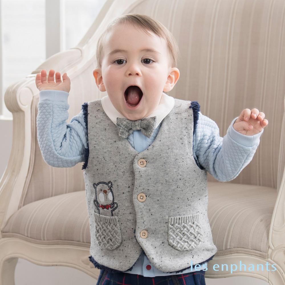 les enphants baby帥氣小紳士領結開釦上衣 淺藍