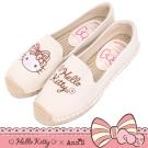 HELLO KITTY X Ann'S花園小仙子不對稱刺繡平底草編鞋-米白