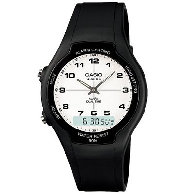 CASIO 酷炫經典指針雙顯錶-白/39mm