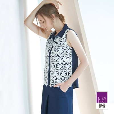ILEY伊蕾 率性剪接縷空蕾絲上衣(藍)