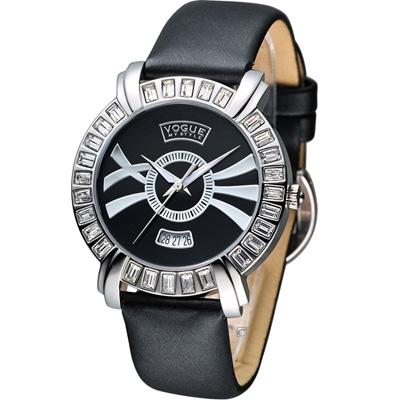 VOGUE 名伶焦點時尚腕錶-黑/38mm